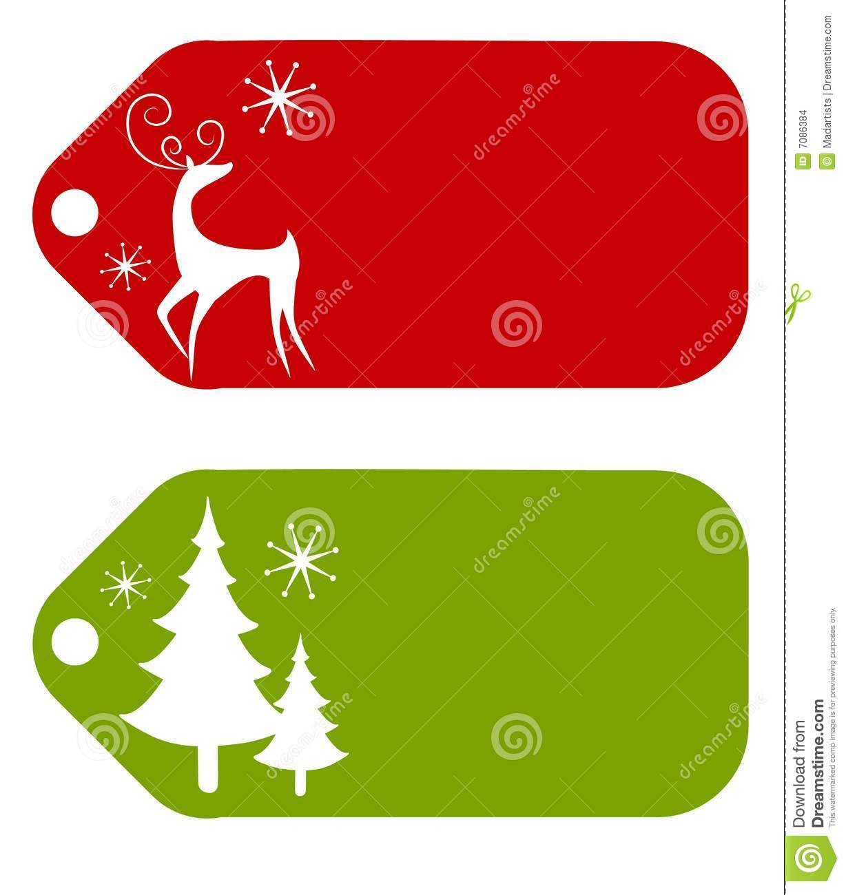 an illustration featuring gift tags decorated with reindeer and christmas tree silhouettes - Decorative Christmas Gift Tags