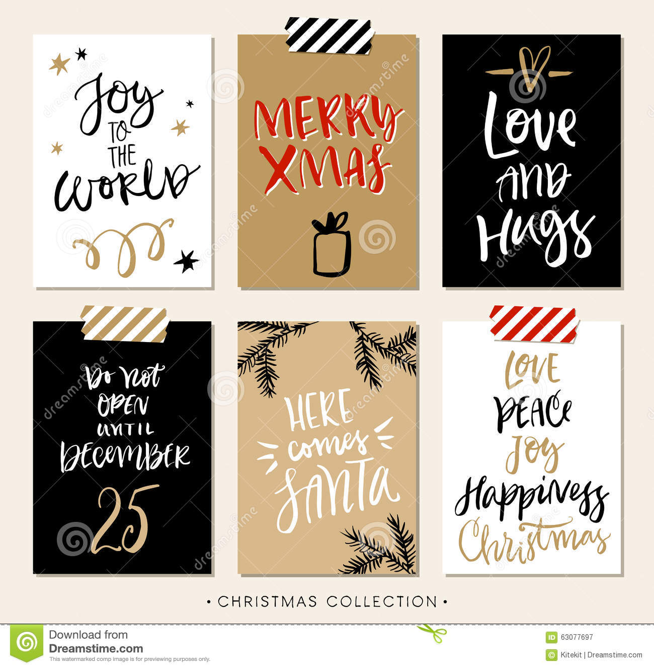 Christmas gift tags and cards with calligraphy stock