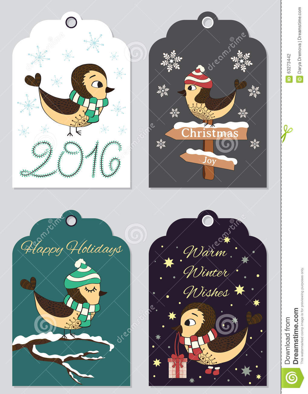 4 christmas gift tags with hand drawn birds set of printable holiday label ready