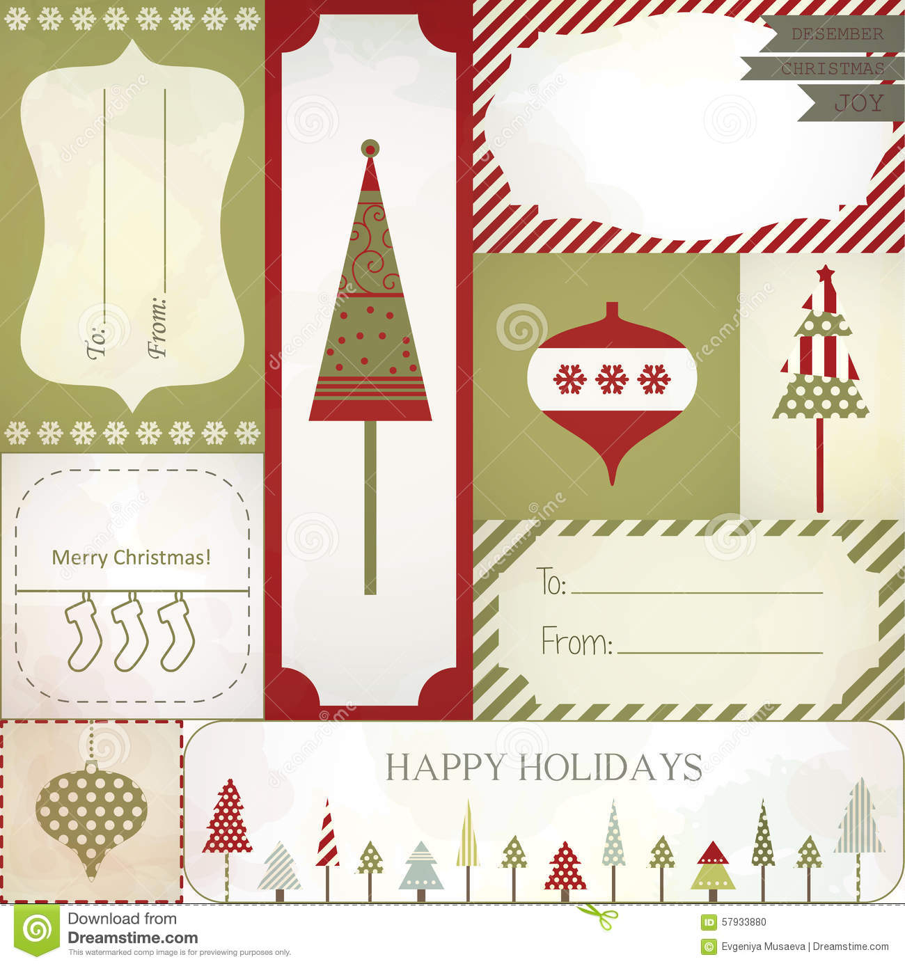 Christmas Gift Label Stickers Part - 16: Christmas Gift Vector Tree Decoration Label ...