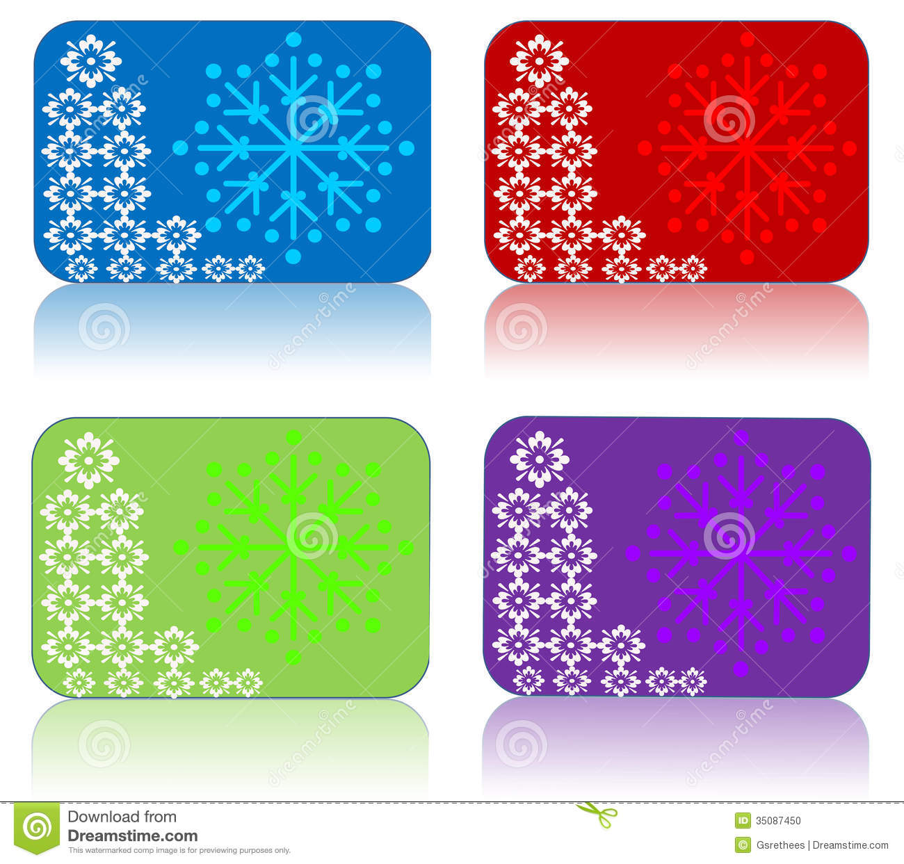 Set of four gift tags for christmas with floral backgrounds.