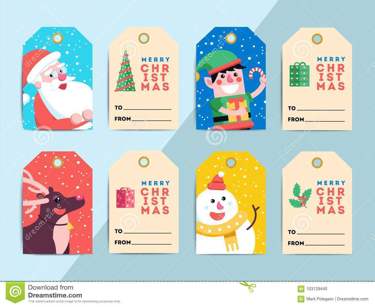 Christmas Gift Tags Template Set Vector Printable Xmas Box Or L Stock Vector Illustration Of Letter Hang 103129440