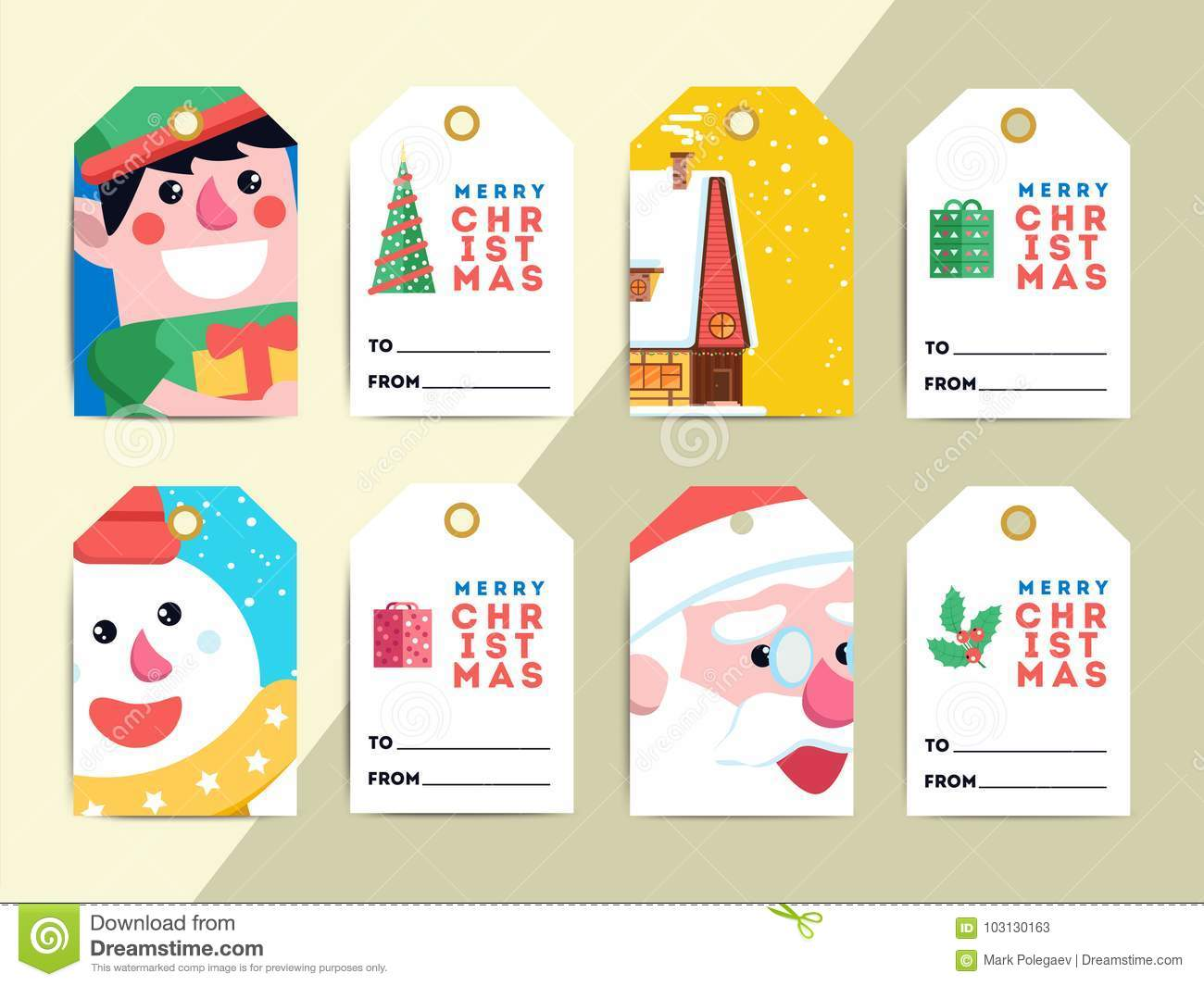 christmas gift tags template set vector printable xmas box or letter labels design santa reindeer snowman and elf characters badges or cards
