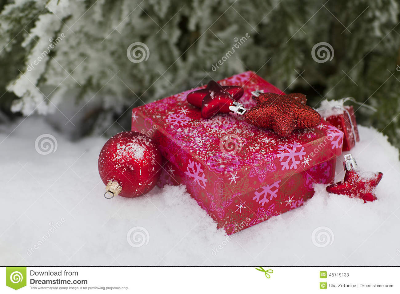 Christmas Gift Under A Fir-tree Stock Photo