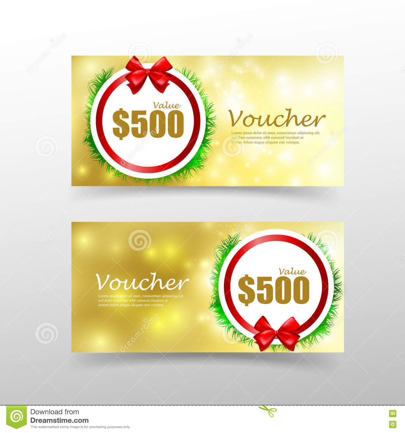 Christmas Gift Voucher Card Template With Red Ribbon Element – Voucher Card Template