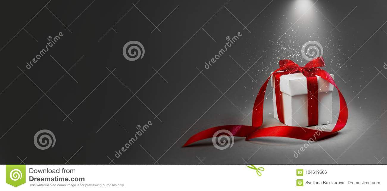 Christmas Gift White Box Red Ribbon Dark Grey Background Concept Night Illuminated Lantern New Year Holiday Composition Banner