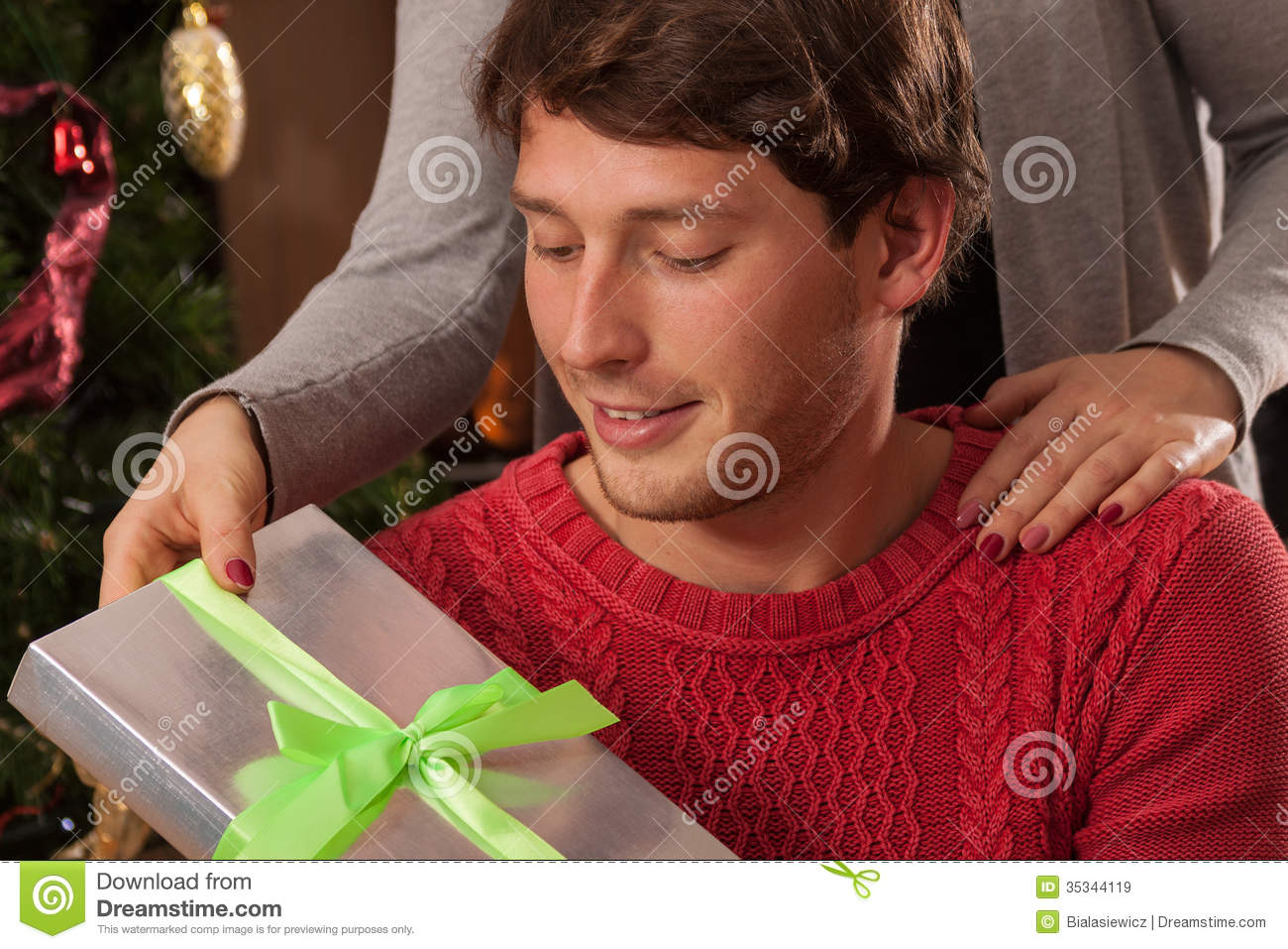 Christmas Gift From Wife To Husband Stock Image - Image of portrait ...