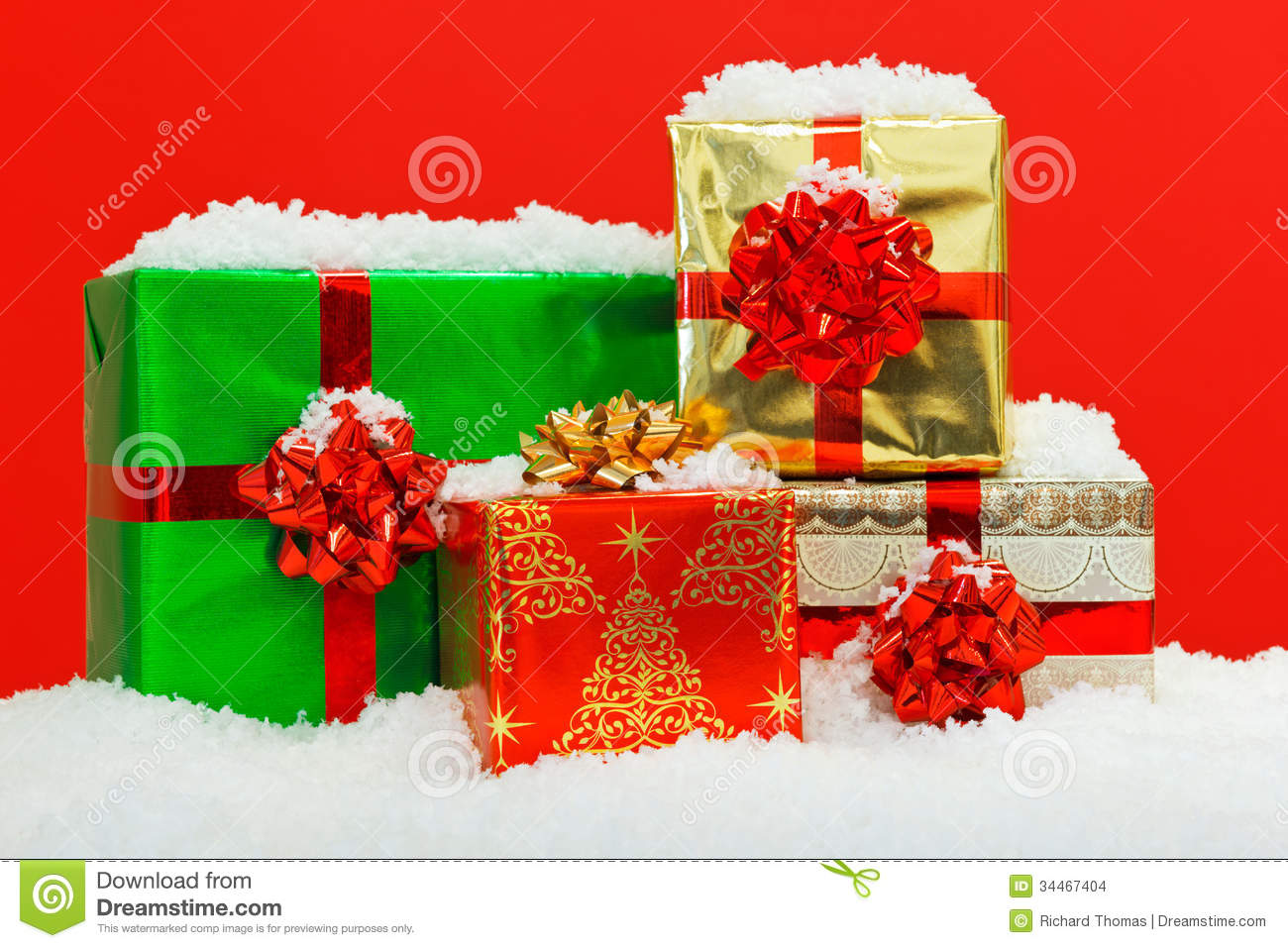 Christmas Gift Wrapped Presents Red Background. Stock