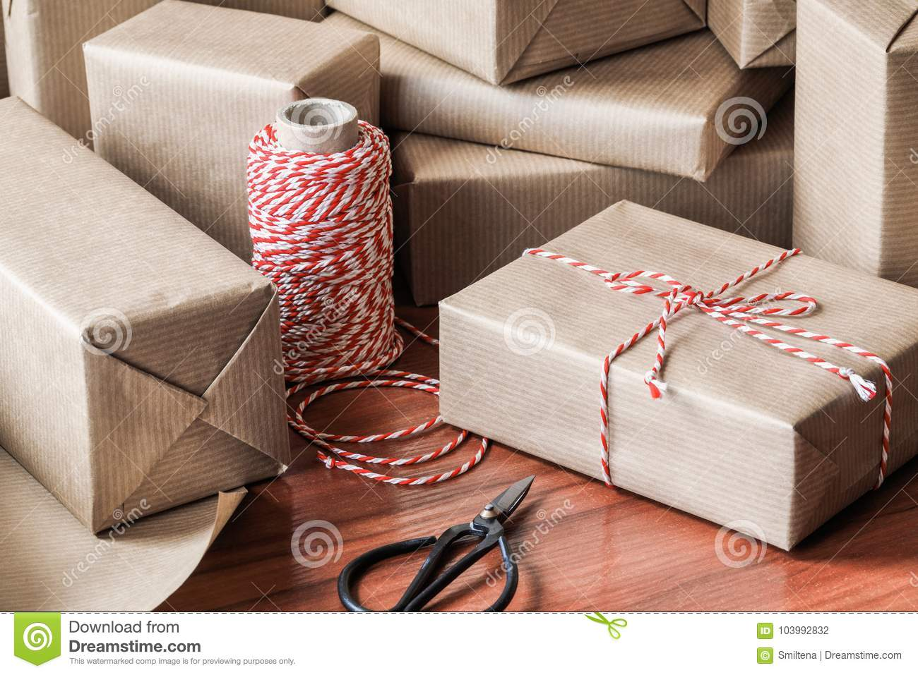Christmas Gifts For Friends.Christmas Gift Wrapping Stock Photo Image Of Pile Packet