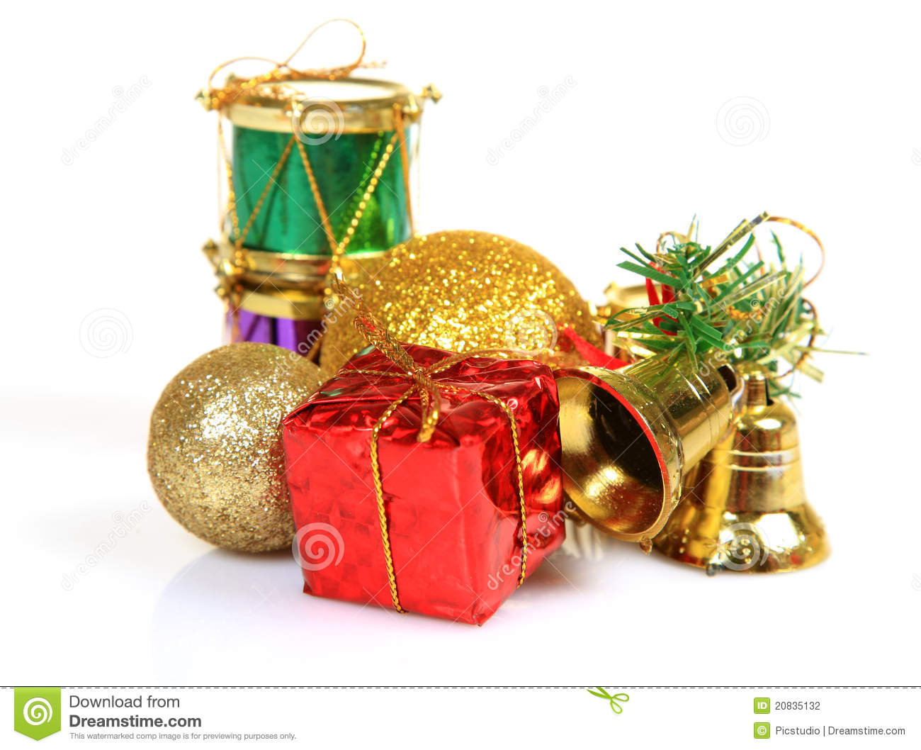 Christmas gifts and decoration items stock photography for Christmas decoration stuff