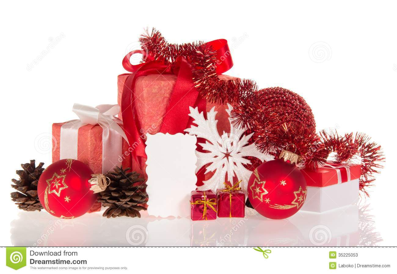 Christmas gifts decorations and empty card stock image for Christmas decoration stuff