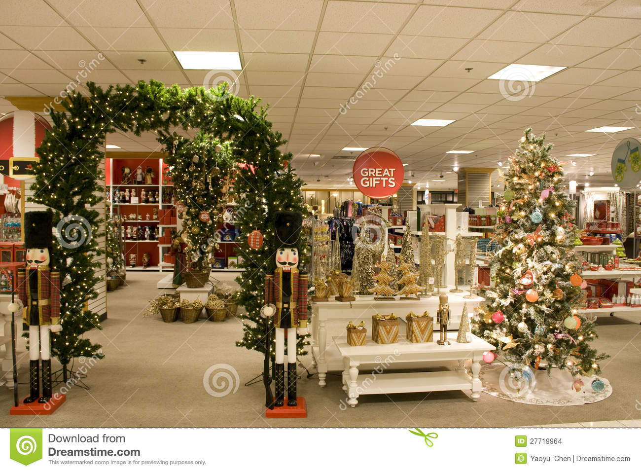 Christmas gifts in department store stock photo image Decorating items shop near me