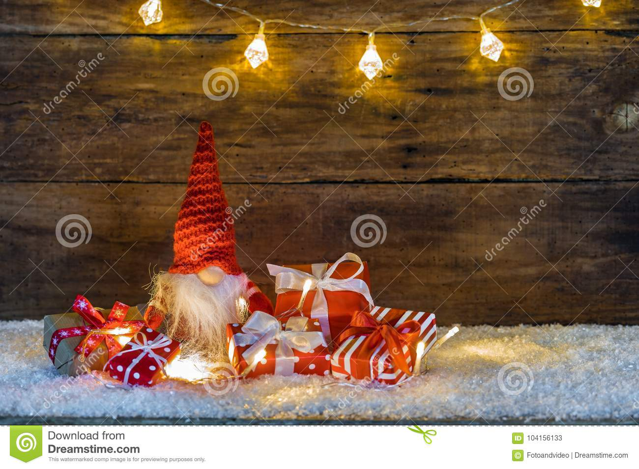 Christmas Gifts With Funny Santa Claus Gnome Stock Image - Image of ...