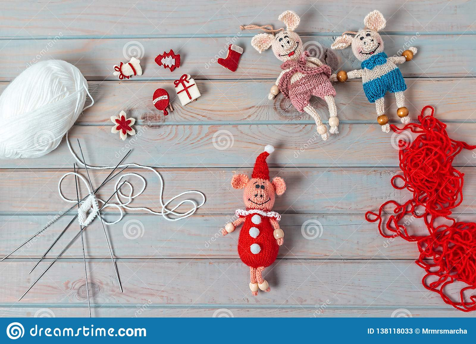 Christmas Gifts Handmade.Christmas Gifts Handmade Wooden Background Top View