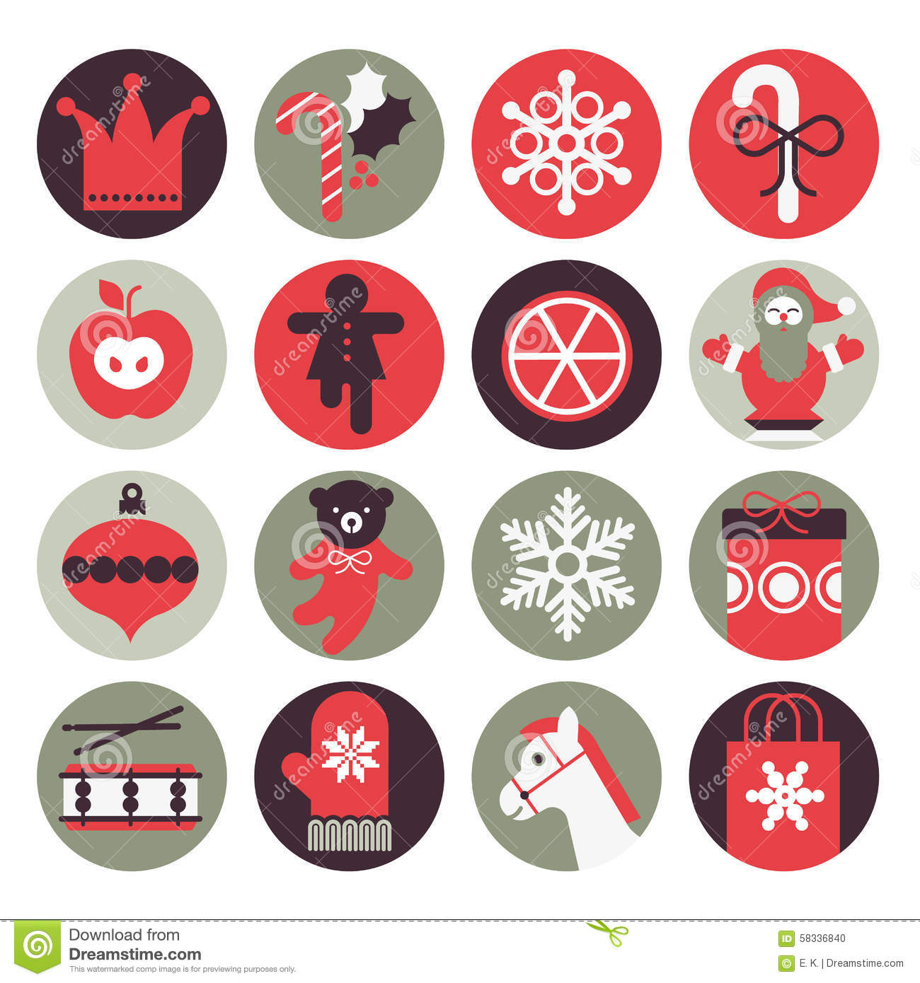 Christmas gifts icons stock vector image