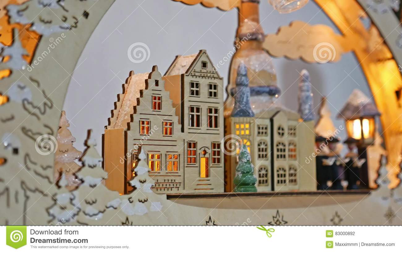 Christmas Gifts Interior Tree And New Year German Wooden House Toys