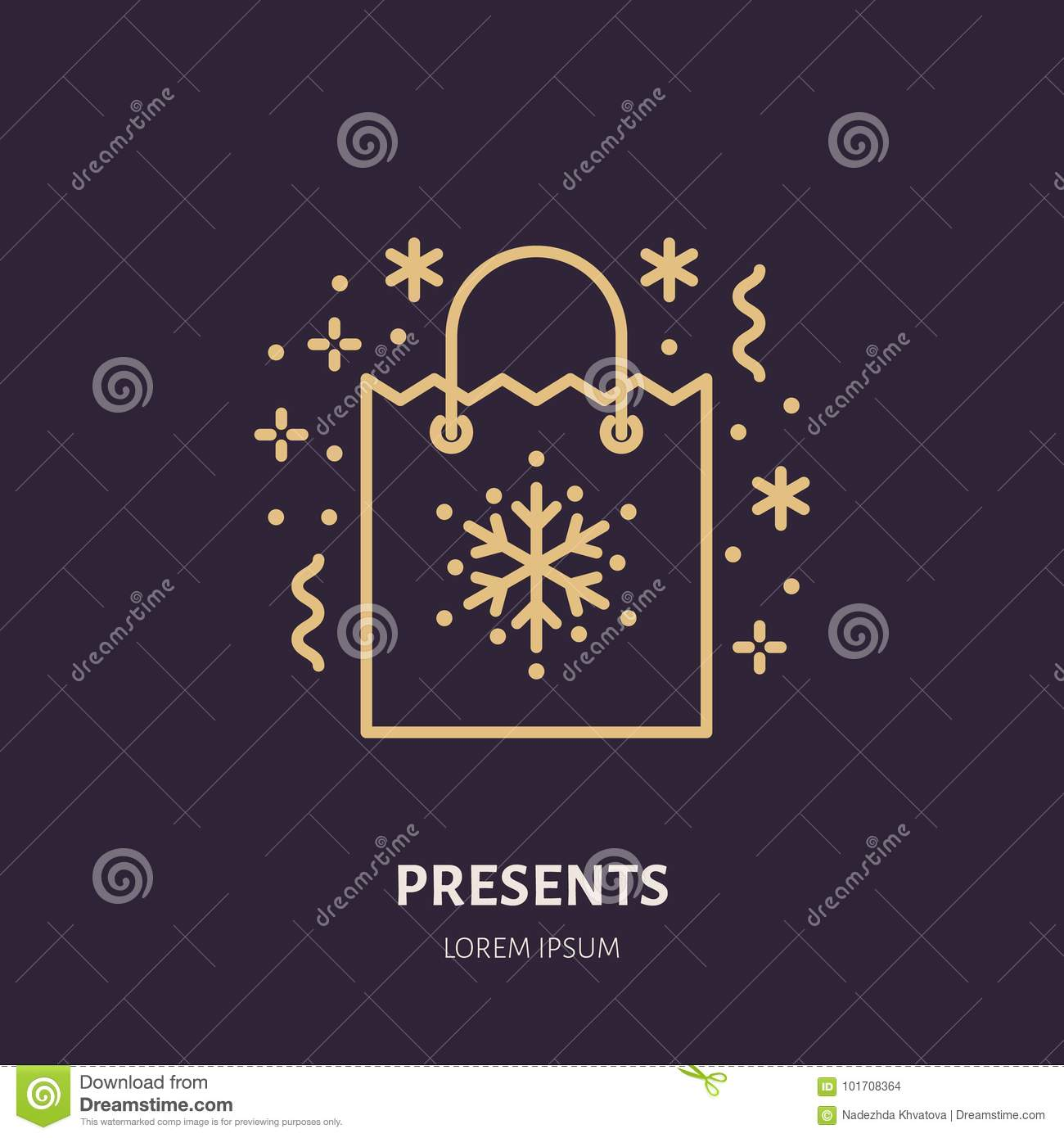 Christmas Gifts, New Year Presents Packaging Flat Line Icons. Winter ...