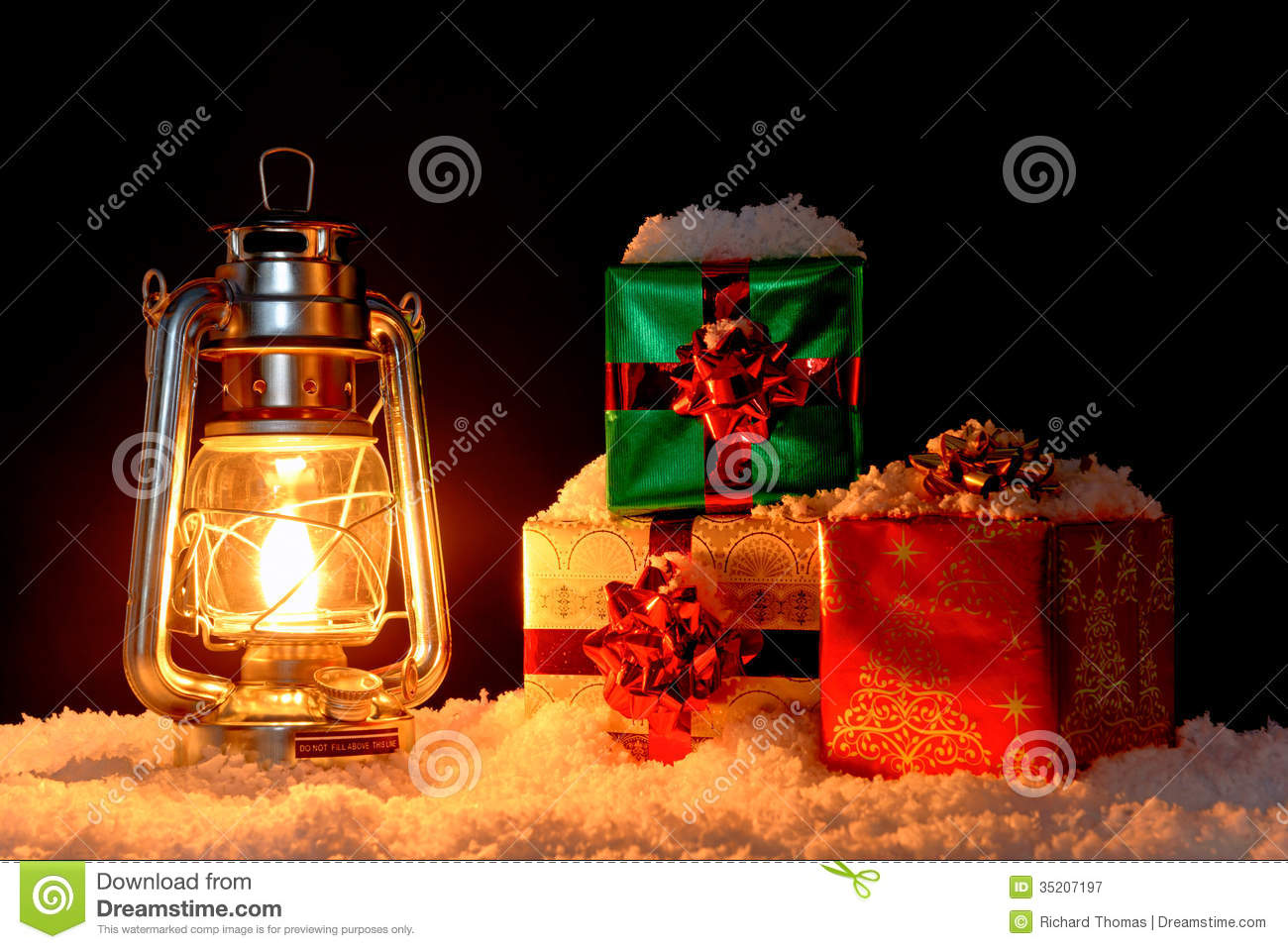 Christmas Gifts And Oil Lamp On Snow Stock Image Image