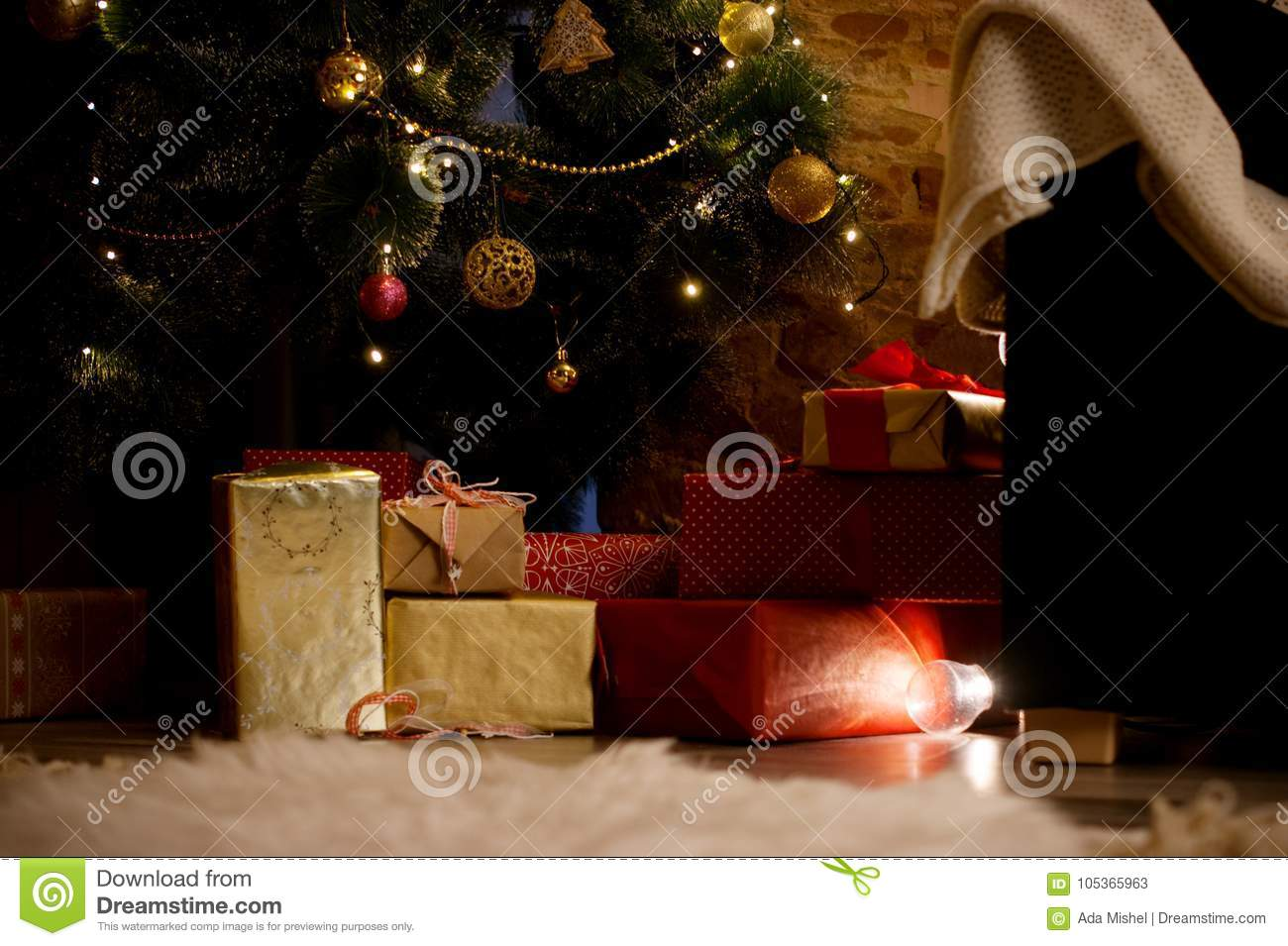 Christmas Gifts Under The Tree Stock Image - Image of package, home ...