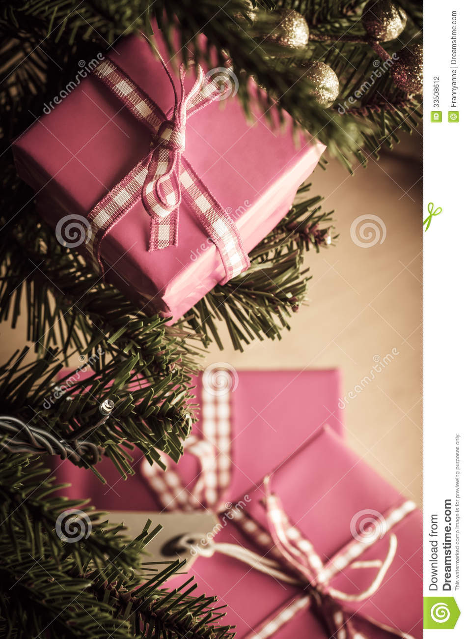 christmas gifts in pink wrapping