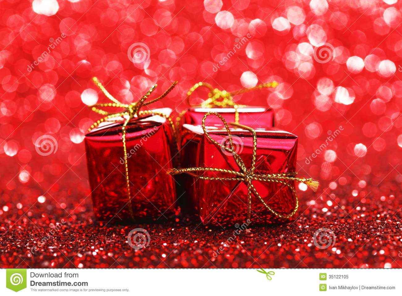 Christmas gifts stock image of birthday year