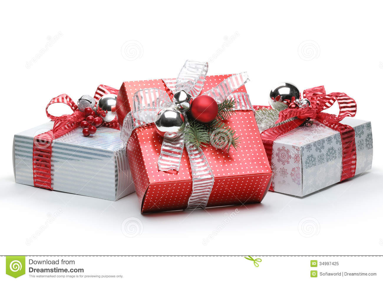 Christmas gifts stock image of studio silver