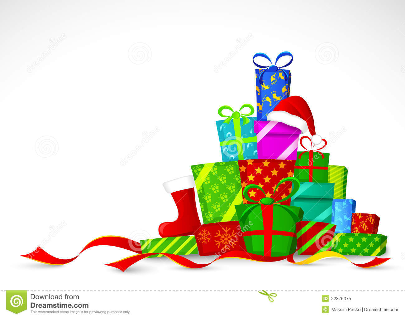 Christmas Gifts. Vector Illustration Stock Vector - Illustration of ...