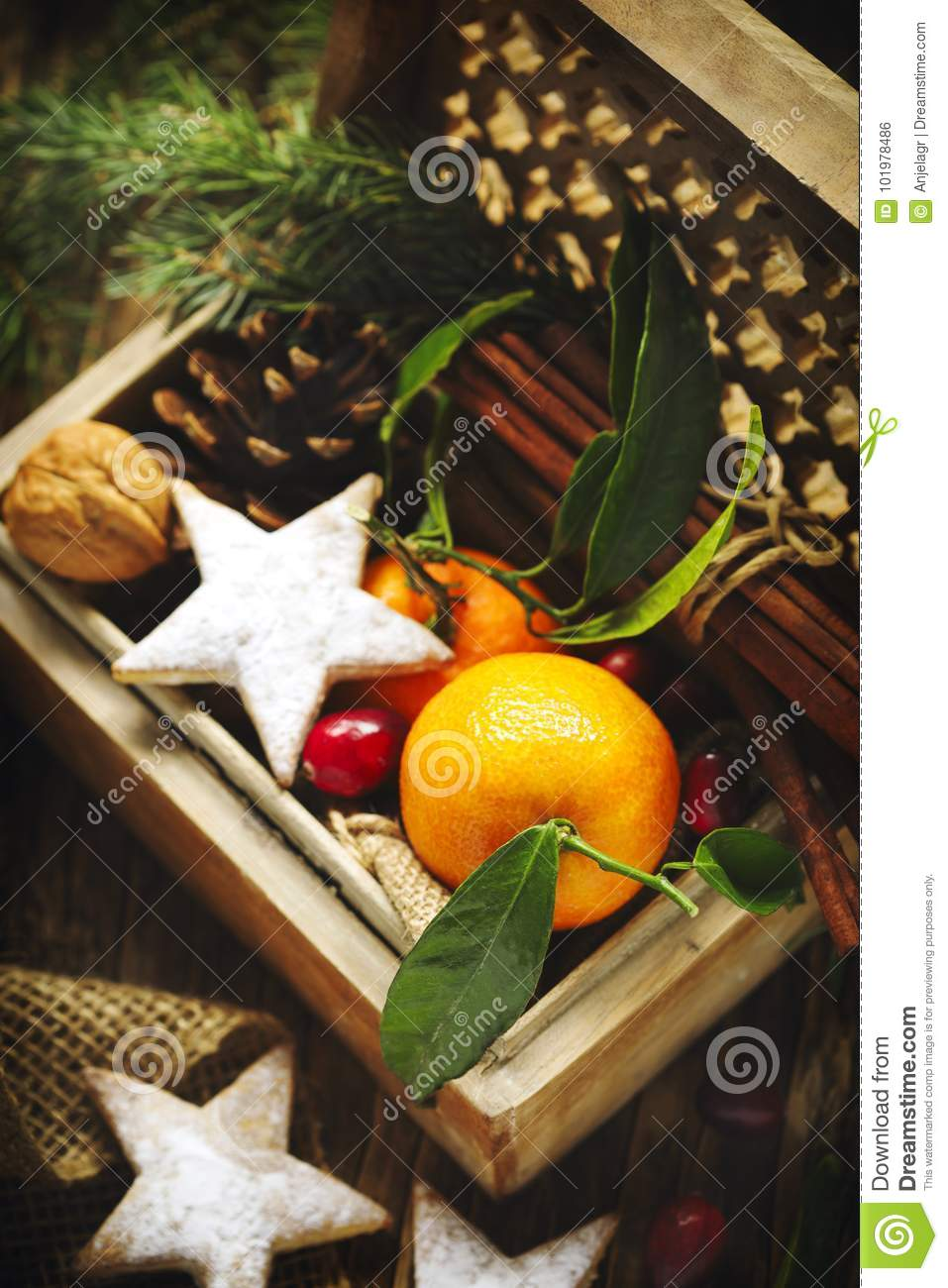 Christmas Gifts In Wooden Box. Stock Photo - Image of festive, home ...