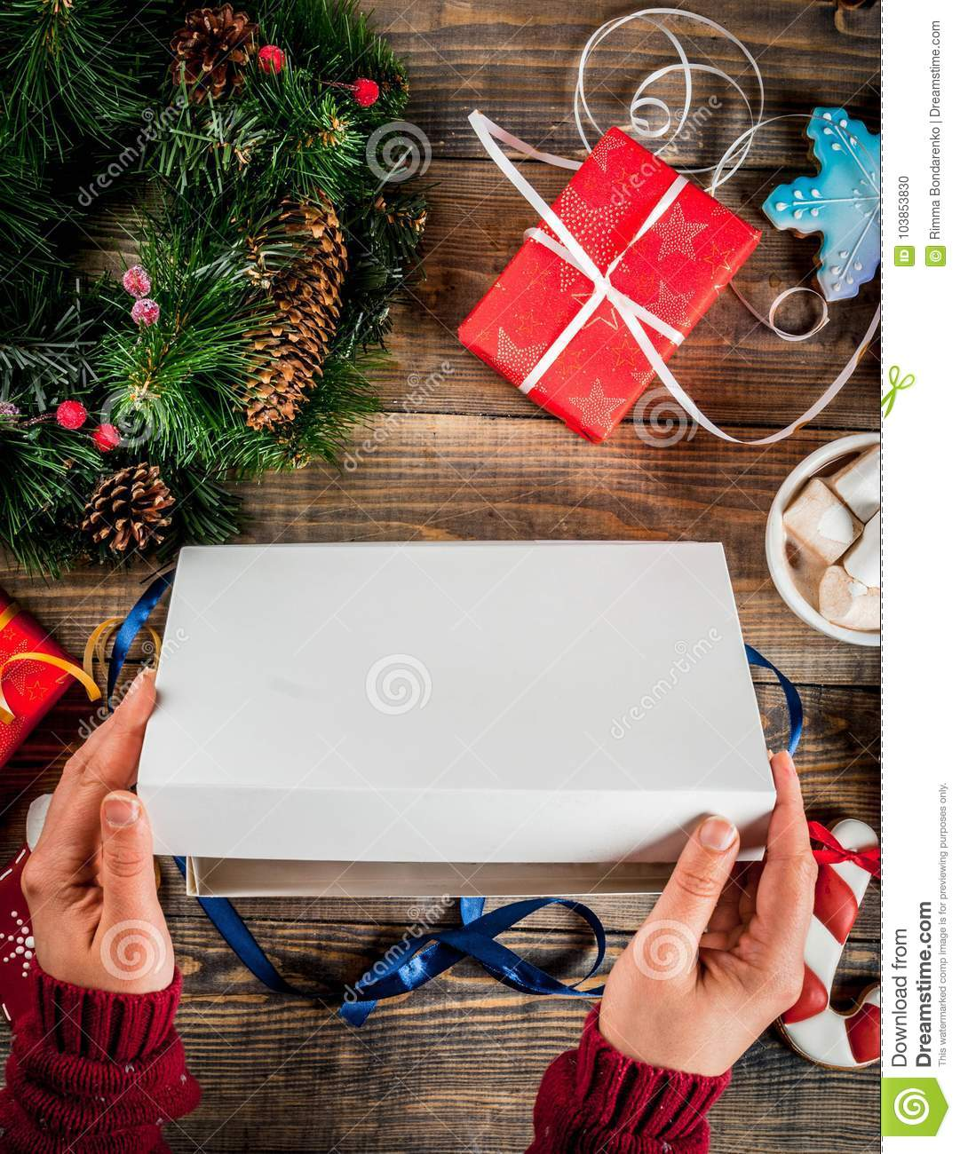 Christmas Gifts On Wooden Table Stock Photo - Image of celebrations ...