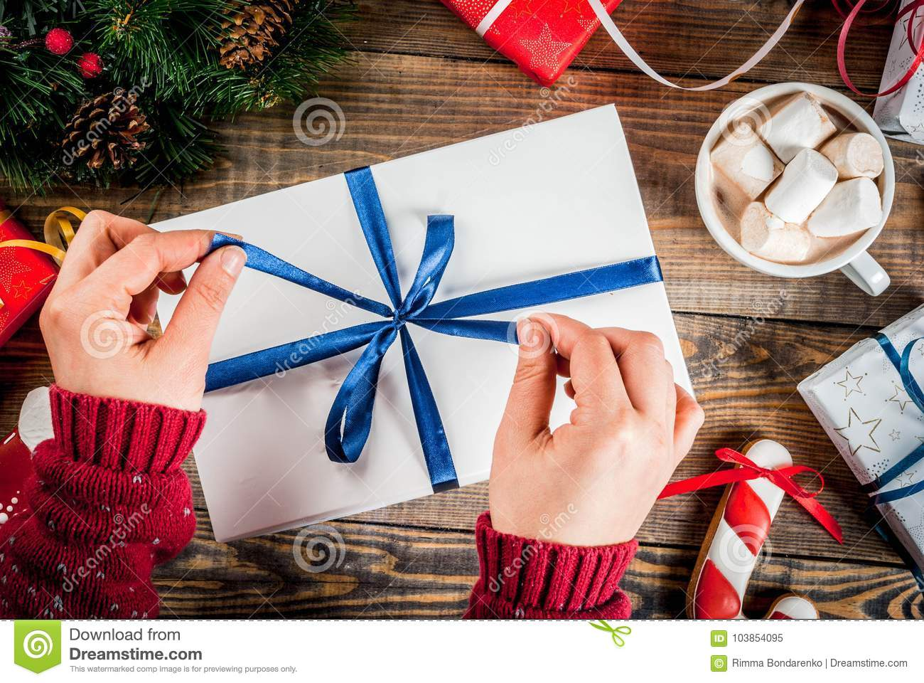 Christmas Gifts On Wooden Table Stock Image - Image of decorative ...