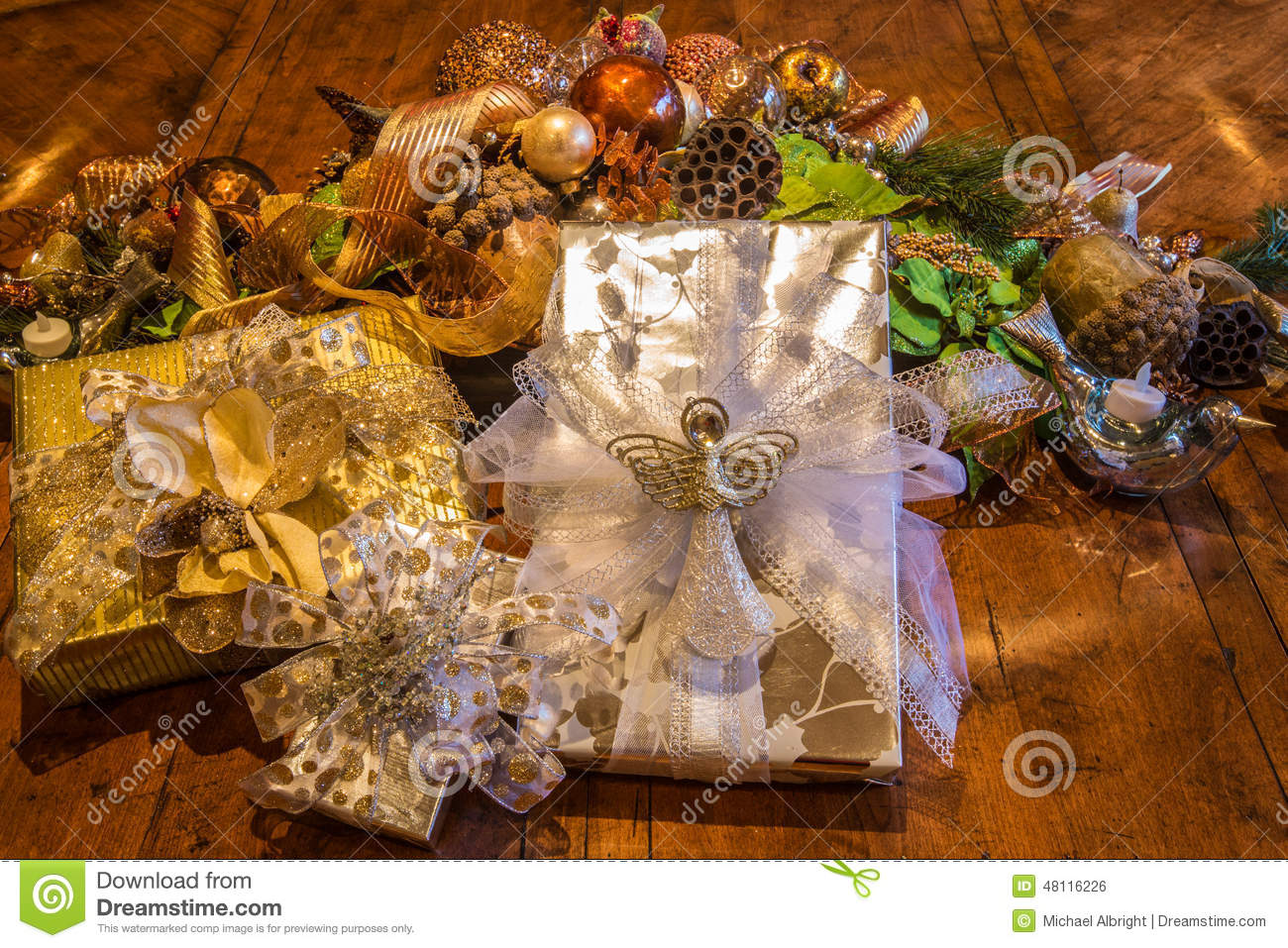 Christmas Gifts Wrapped In An Elegant Setting Stock Photo