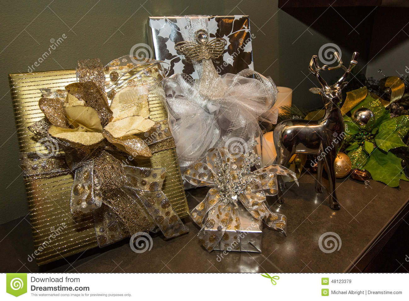 Christmas Gifts Wrapped In An Elegant Setting Stock Image - Image of ...