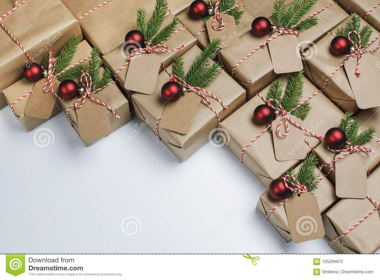 Christmas Gifts Gifts Wrapped In Rustic Paper Stock Photo - Image of ...