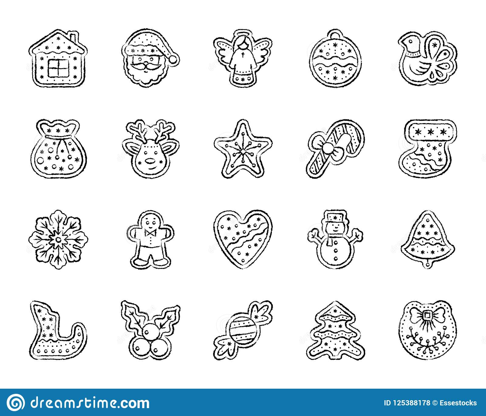 christmas gingerbread charcoal draw line icons vector set stock