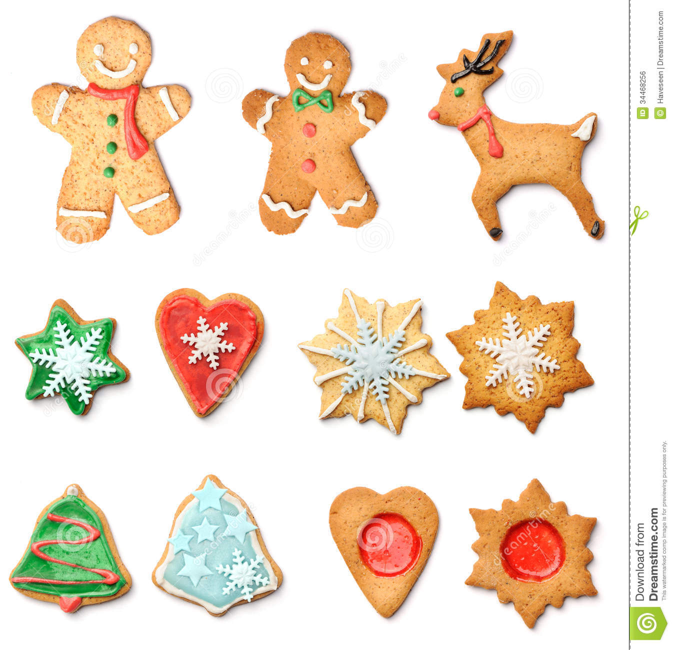 Christmas Gingerbread Cookies Collection Set Stock Photo Image Of