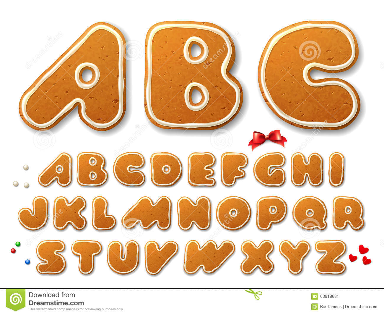 Christmas Gingerbread Cookies Letters Stock Vector Image