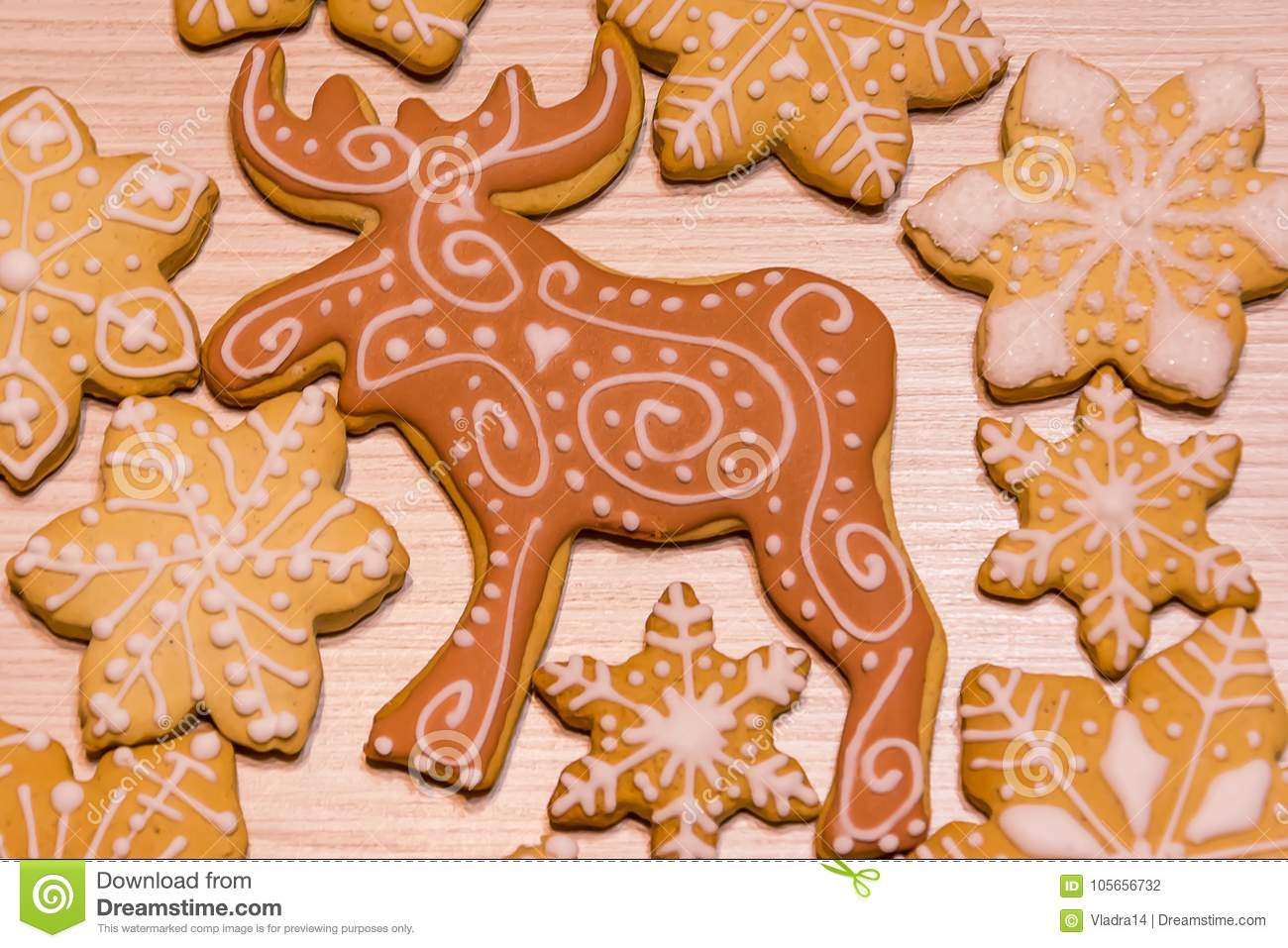 Christmas Gingerbread Cookies Reindeer And Snowflakes Stock Photo