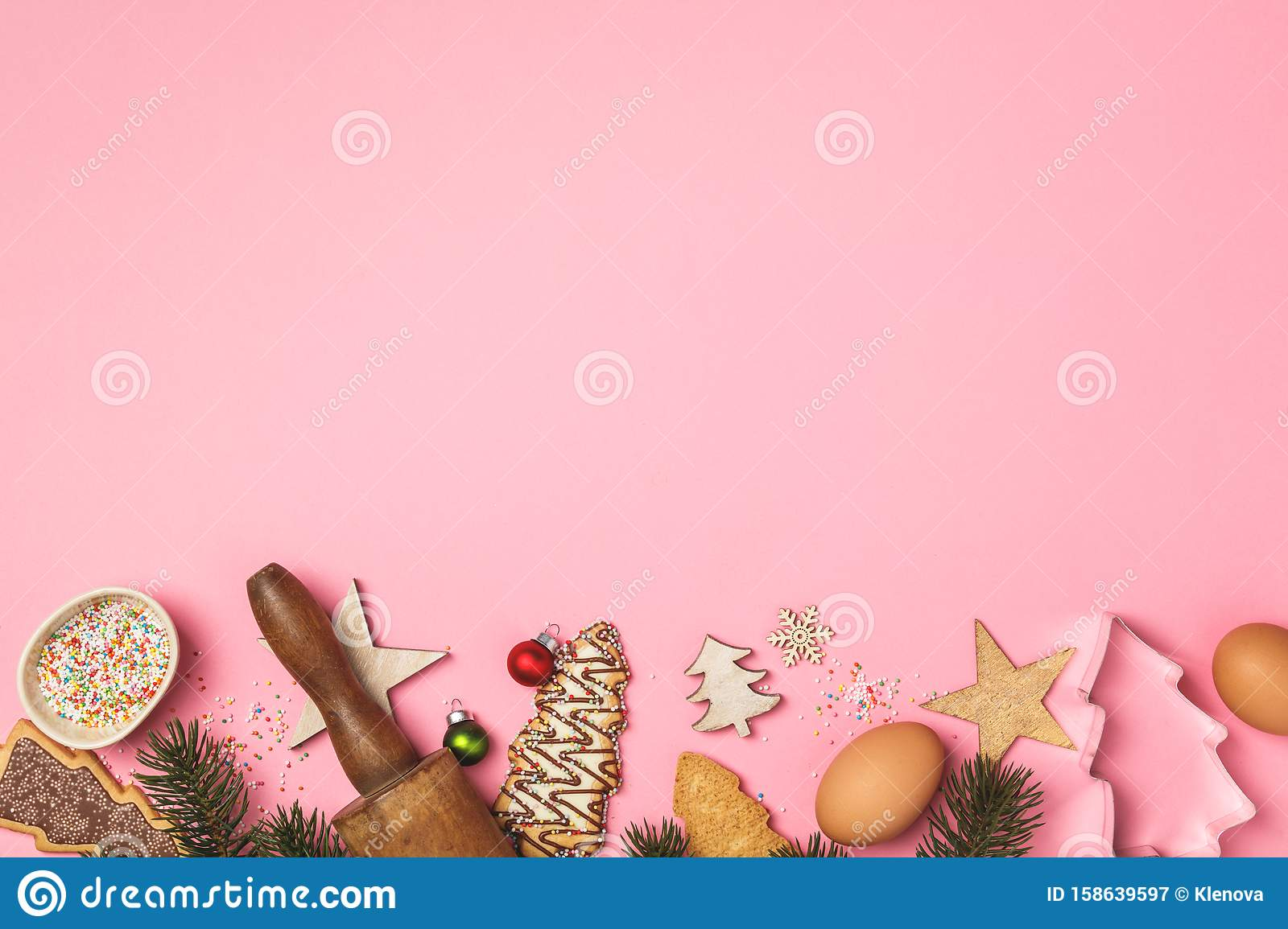 Christmas Gingerbread Cookies In The Shape Of A Christmas Tree And Baking Ingredients Stock Image Image Of Text Celebration 158639597