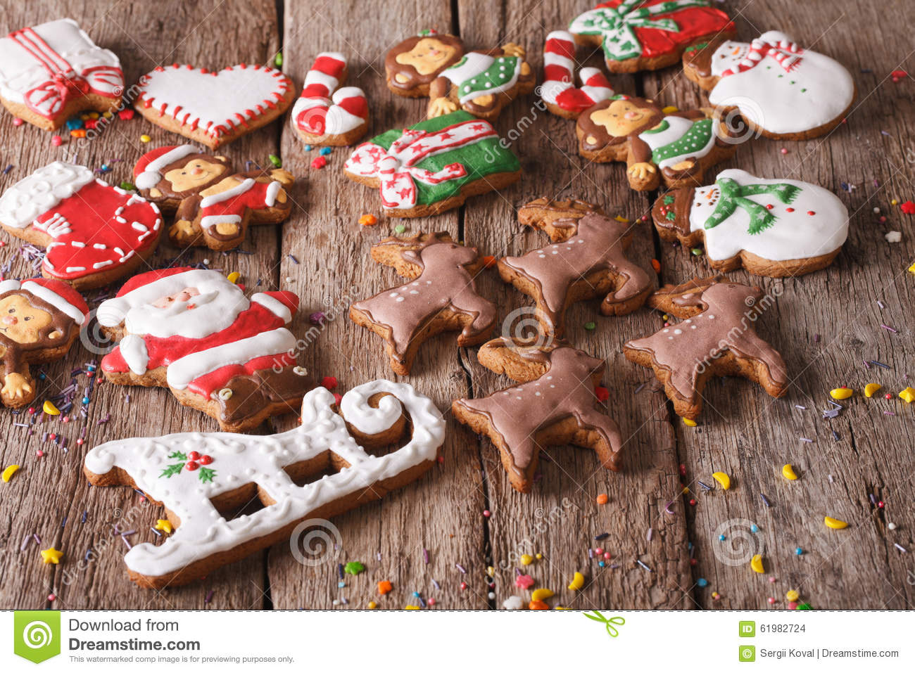 Christmas gingerbread cookies on a wooden table. horizontal
