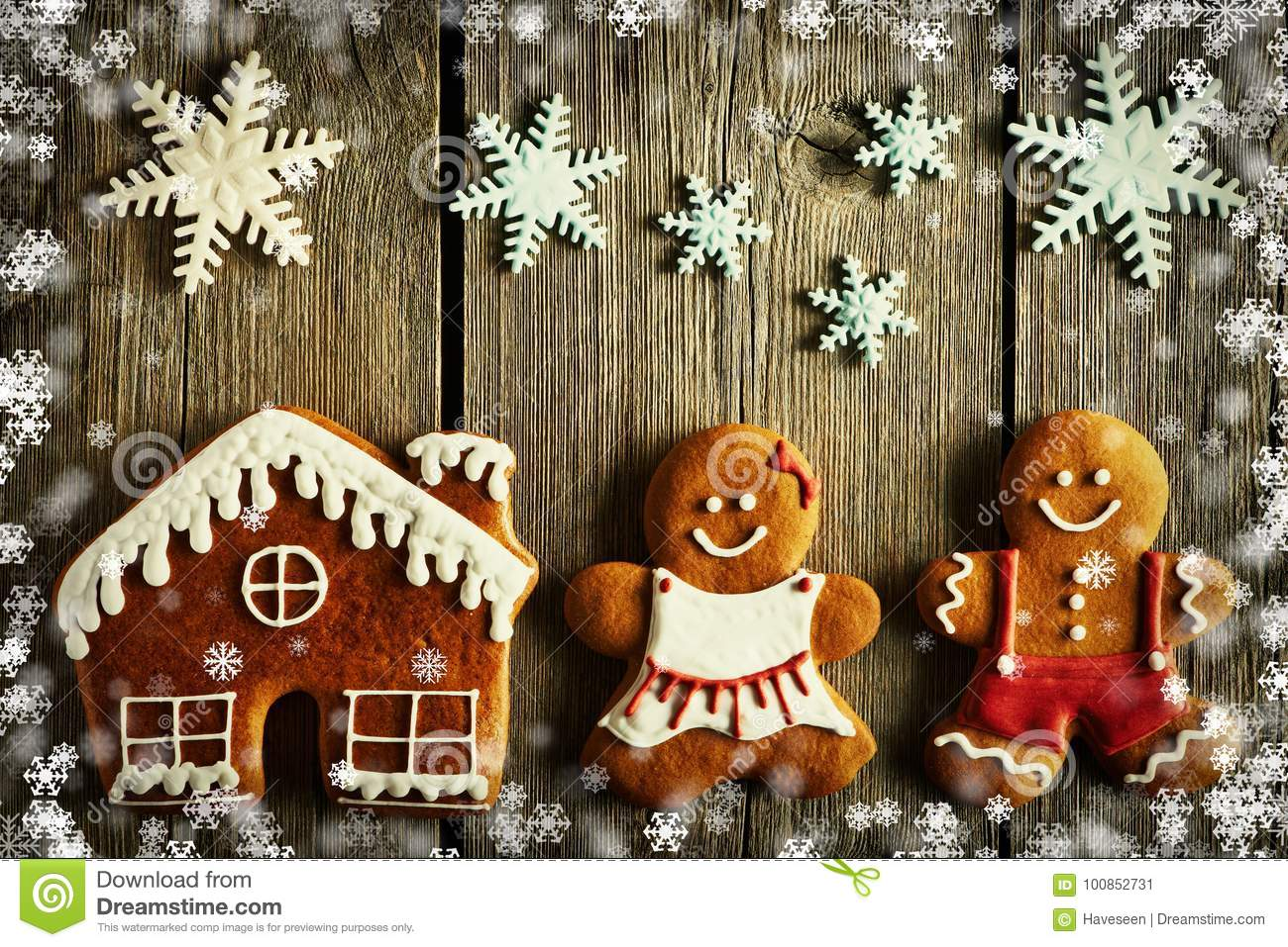Christmas Gingerbread Couple And House Cookies Stock Illustration