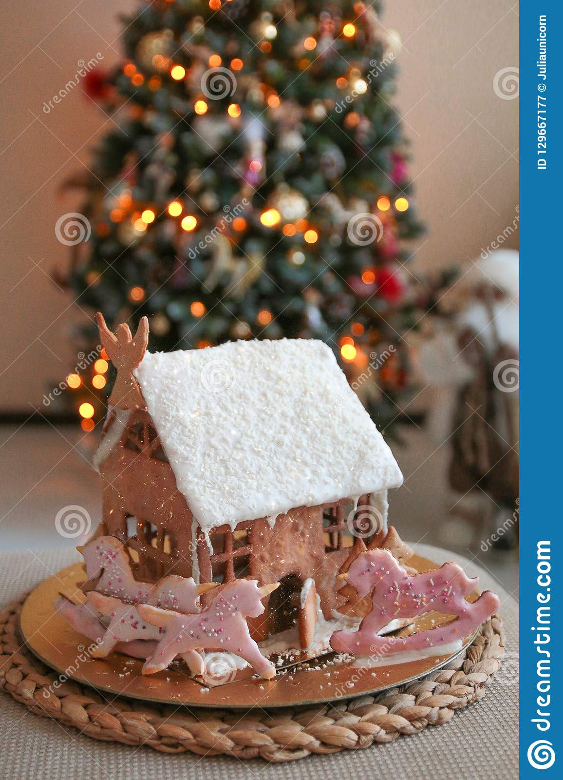 Christmas Gingerbread House With Unicorns Stock Image Image Of