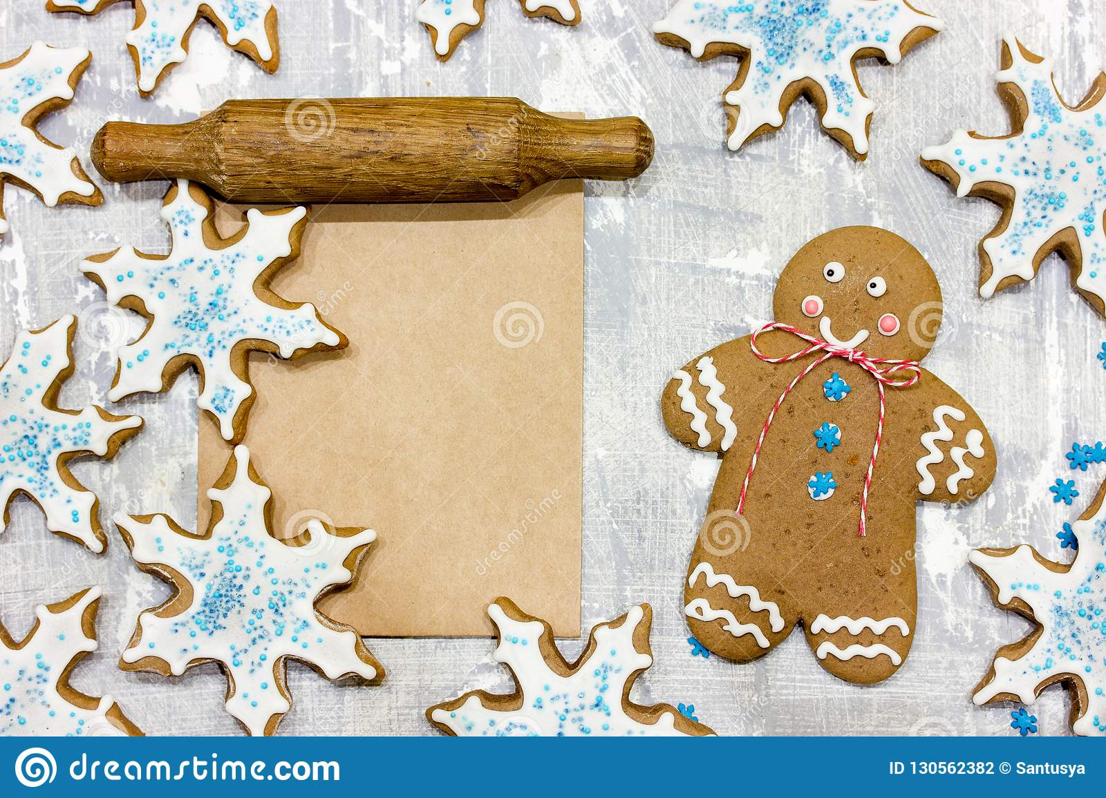 Christmas Gingerbread Man Cookie And Gingerbread Snowflakes Stock