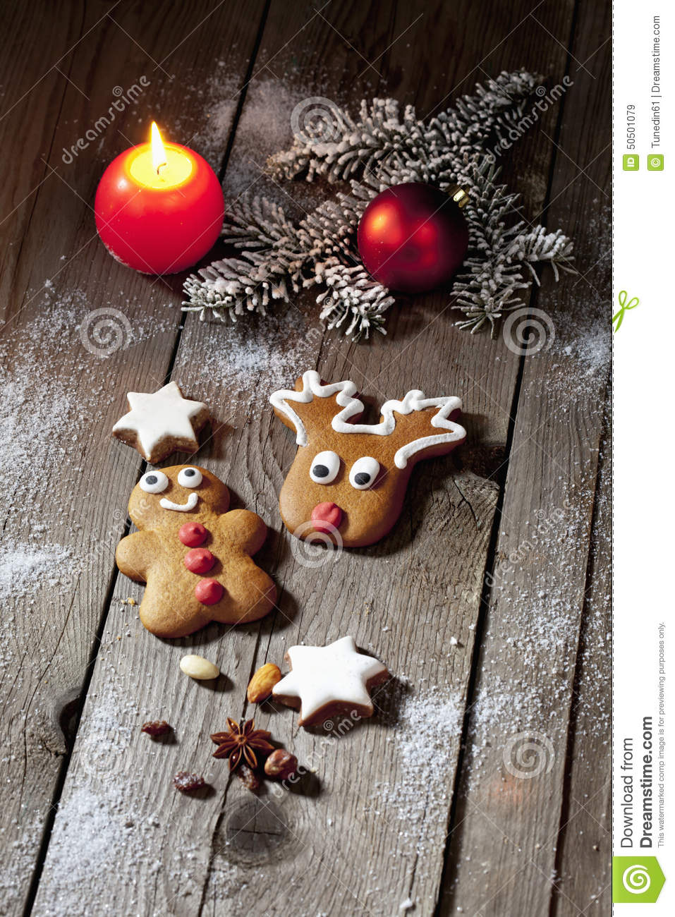 Christmas Gingerbread Man And Reindeer With Candle Cinnamon Stars