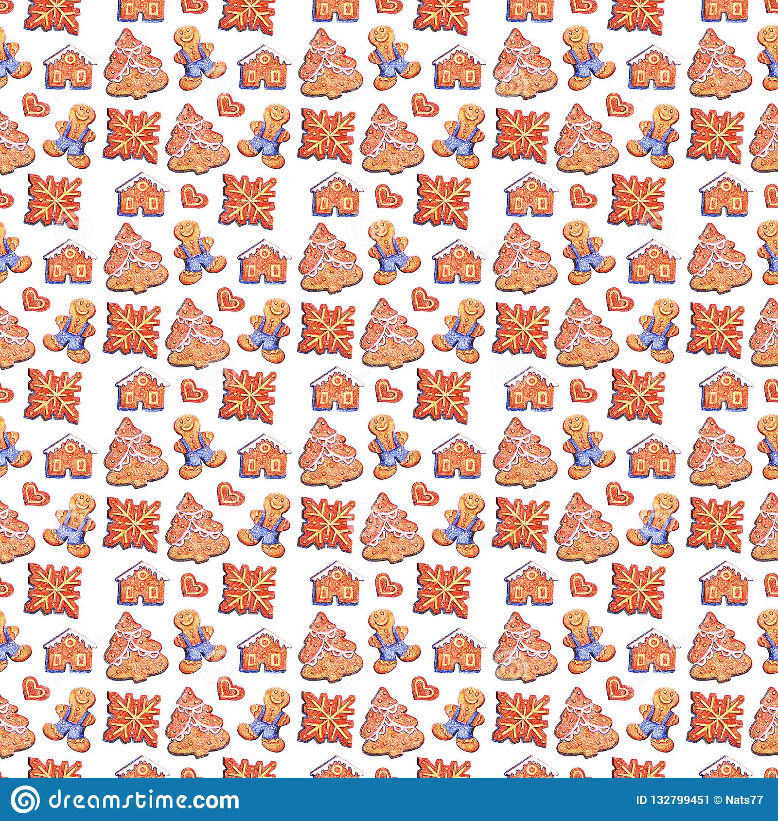 christmas gingerbread seamless pattern ginger cookies blue background cute xmas wallpaper gift paper hand draw illustration 132799451