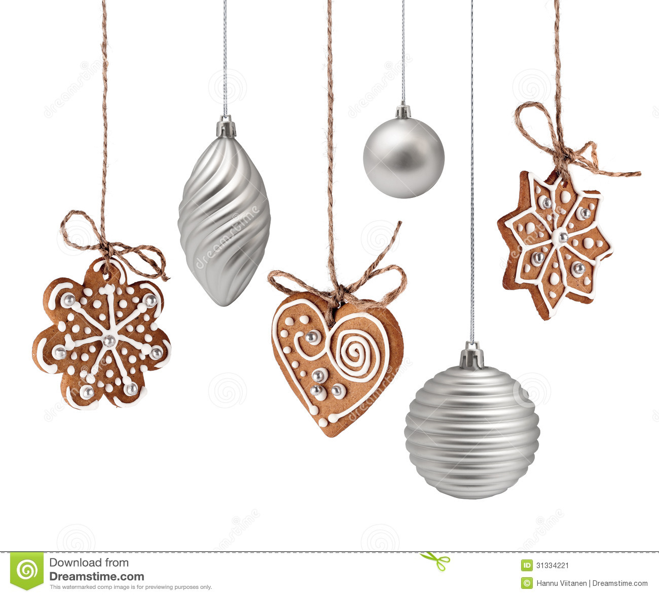 Christmas gingerbreads and decoration hanging stock image image