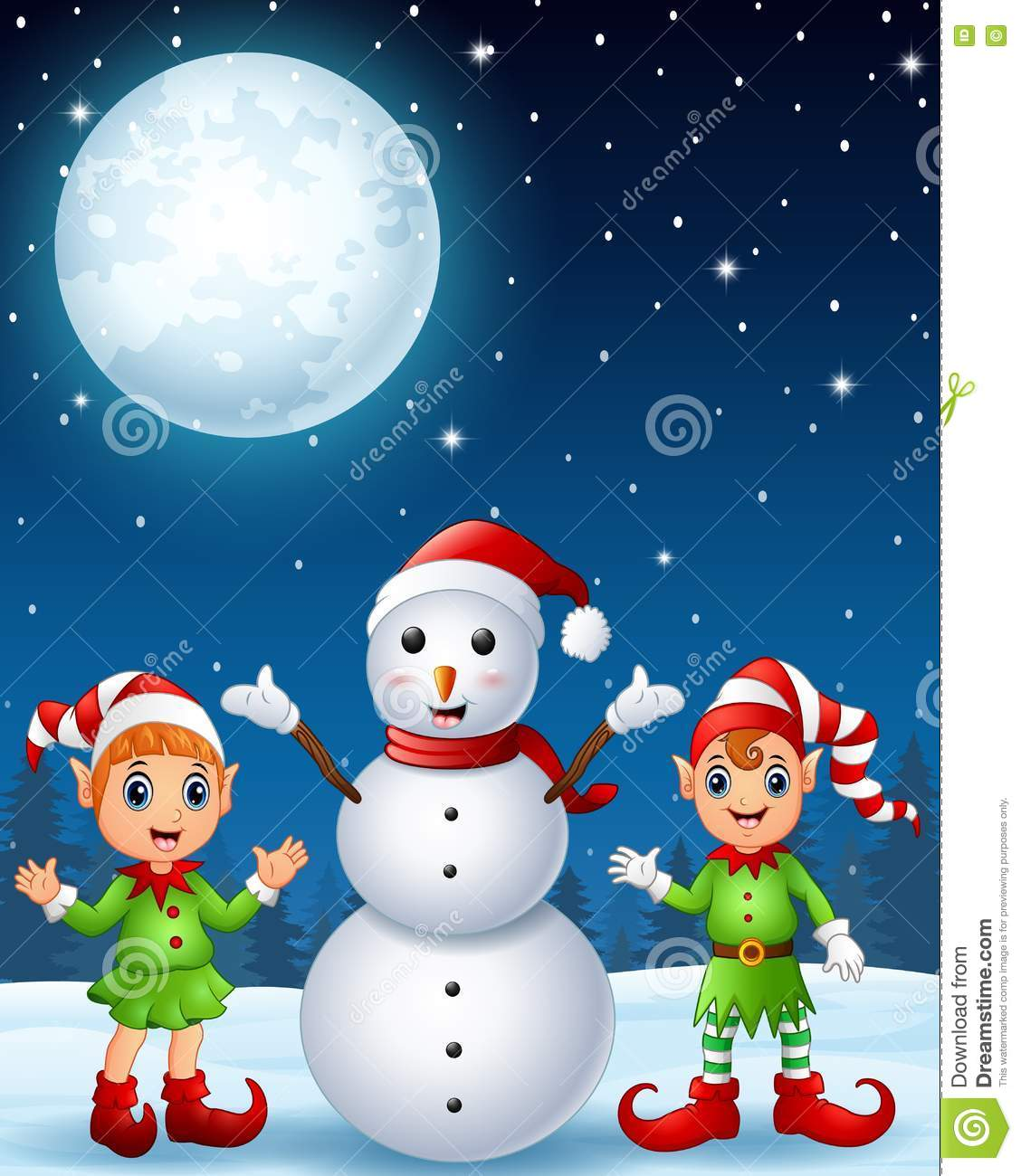 Christmas girl elf with boy elf and snowman in the winter night background