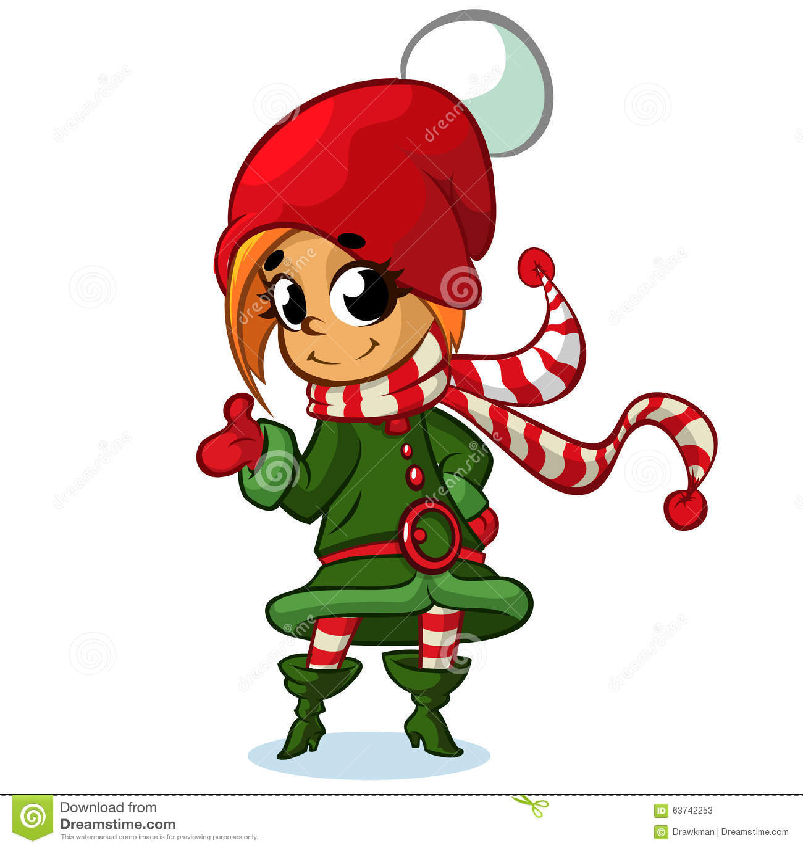 Christmas Girl Elf Character In Santa Hat Vector