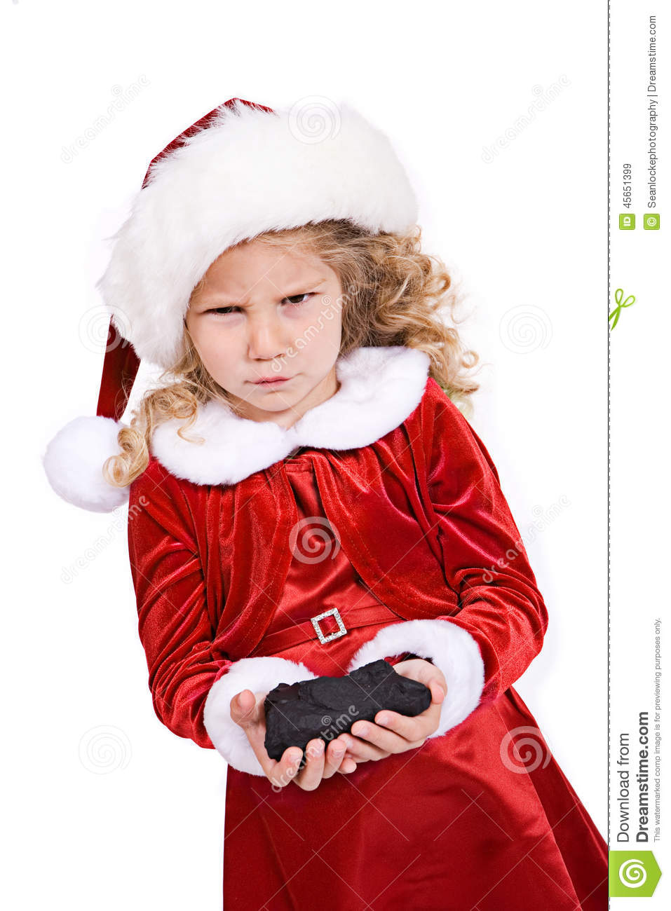 Christmas: Girl Gets Coal From Santa For Bad Behavior Stock Image ...