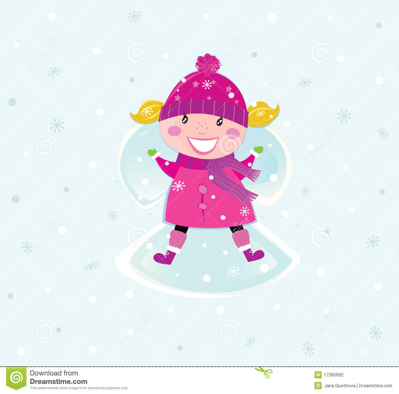 Jana Only Sweet Girls: Christmas Girl In Pink Costume Making Snow Angel Stock