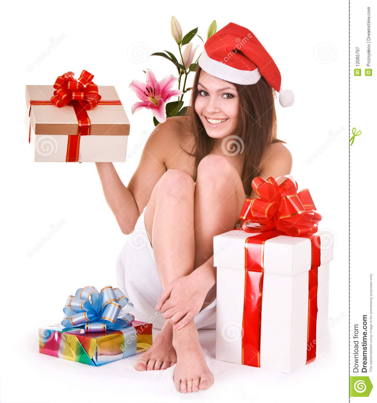 Christmas Girl In Santa Hat, Group Gift Box In Spa Royalty Free ...